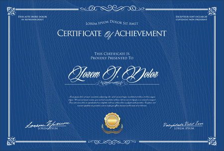 Certificate or diploma retro template vector illustration Standard-Bild - 105676561