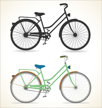 Retro Vintage Fahrrad lokalisiert auf weißem Hintergrund Vektorgrafik