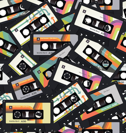 Retro vintage cassette tape seamless background vector Иллюстрация