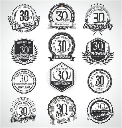 Retro vintage anniversary badges and labels collection Ilustração