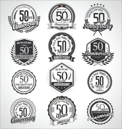 Collection de badges et étiquettes d'anniversaire vintage rétro Vecteurs