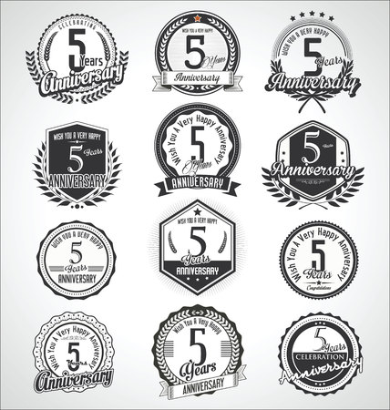 Retro vintage anniversary badges and labels collection Illustration
