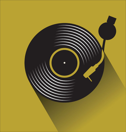 Black vinyl record disc flat concept vector illustration