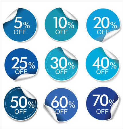 Collection of discount offer price labels