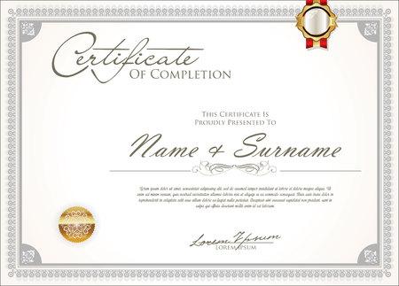 certificate or diploma retro vintage design Standard-Bild - 110689069