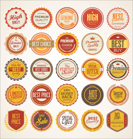 Collection of colorful badge and labels retro design