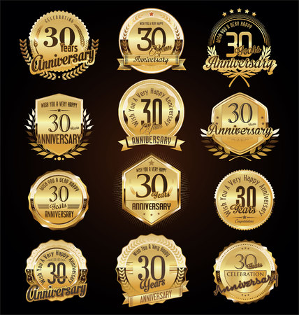 Retro vintage anniversary golden badges and labels collection