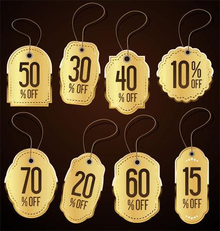 Vintage Style golden Sale Tags Design collection