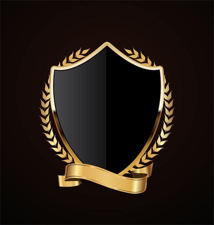 Golden shield retro design Ilustração