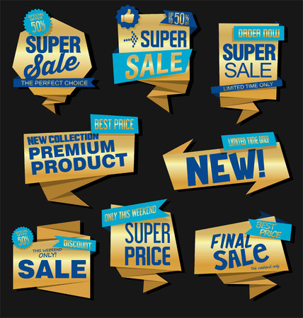 Vintage Style golden Sale labels Design vector collection