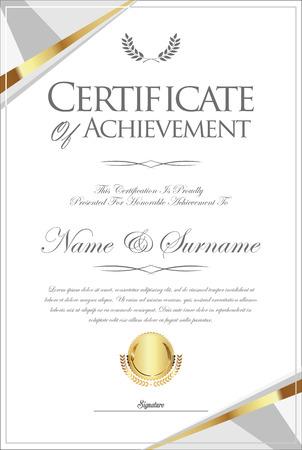 certificado o diploma plantilla retro Ilustración de vector