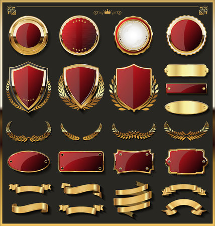 Luxury gold badge and labels design elements collection Çizim