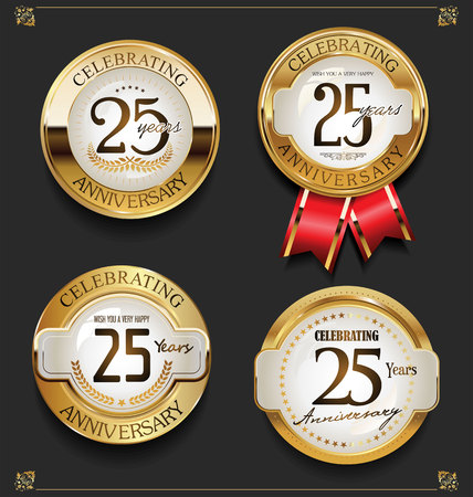 Collection of Elegant golden anniversary background