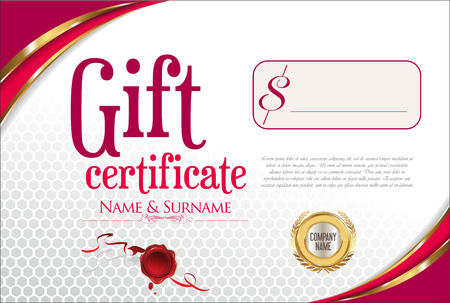 Gift Certificate with golden seal and design border