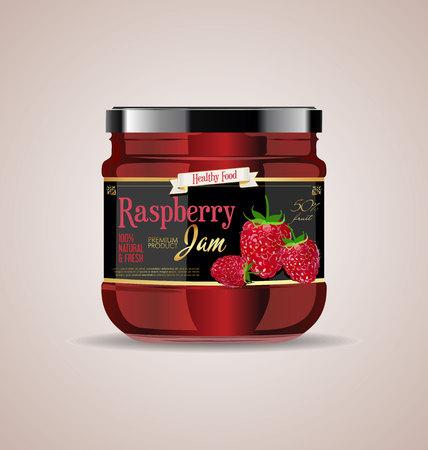 glass jar mock up raspberry package design Ilustração