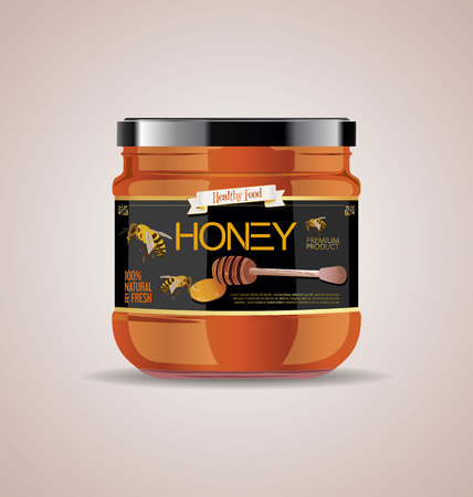 glass jar mock up honey package design Banco de Imagens - 116939809
