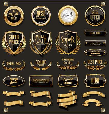 retro vintage black and gold badges and labels Illustration