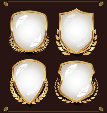 white shields Vectores