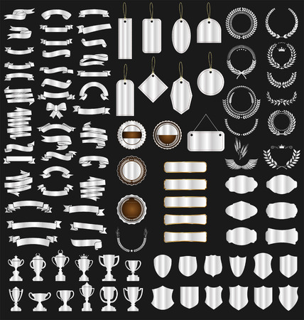 a silver collection various ribbons tags Vetores
