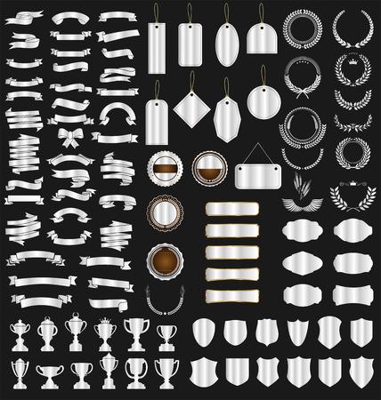 een zilveren collectie diverse linten tags Vector Illustratie