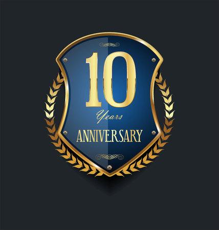 anniversary background 10 years Векторная Иллюстрация
