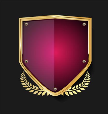 Diseño retro de escudo dorado y corona de laurel