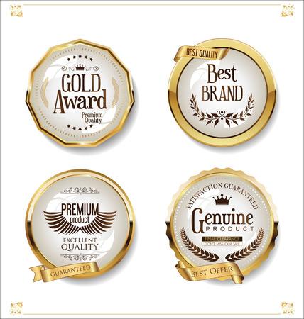 Luxus-Premium-Goldene Abzeichen und Etiketten Vektorgrafik