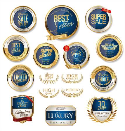 Insignias y etiquetas de oro premium de lujo.