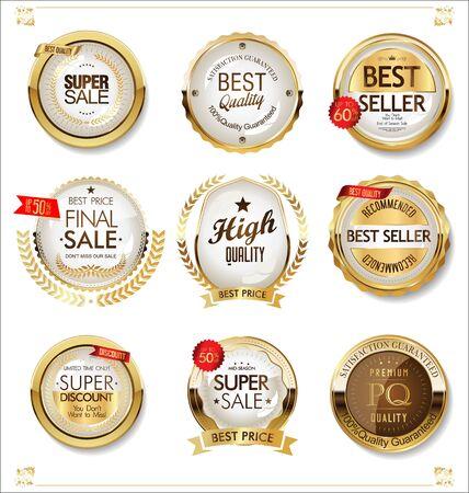 Insignes et étiquettes dorés de luxe premium
