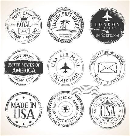 Set of postal stamps