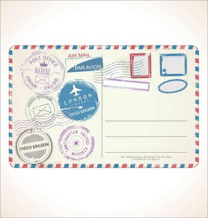 Postal stamp and post card on white background mail post office air mail