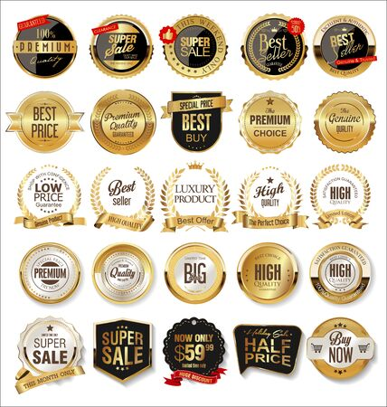 Luxe premium gouden badges en labels