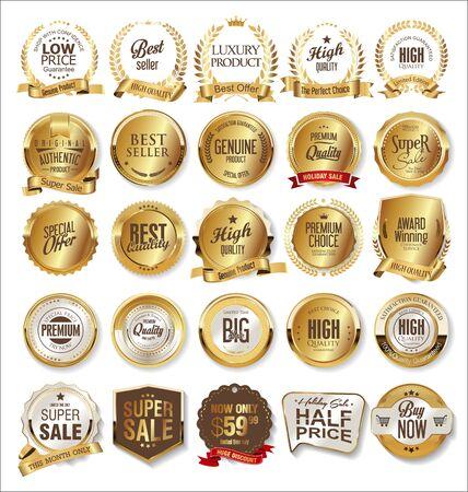 Luksusowe złote odznaki i etykiety premium Ilustracje wektorowe