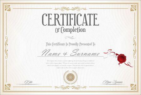 Certificate or diploma retro vintage template Ilustrace