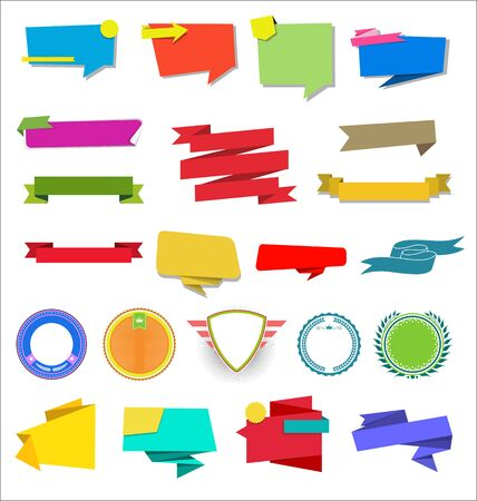 Zbiór różnych etykiet i odznak wstążkowych