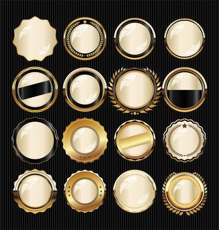 Gouden badge en labels
