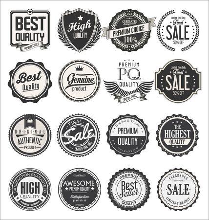 Etiquetas y distintivos retro vintage