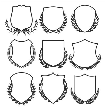 Medieval shields and laurel wreaths collection Çizim