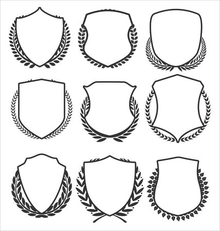 Medieval shields and laurel wreaths collection Ilustrace