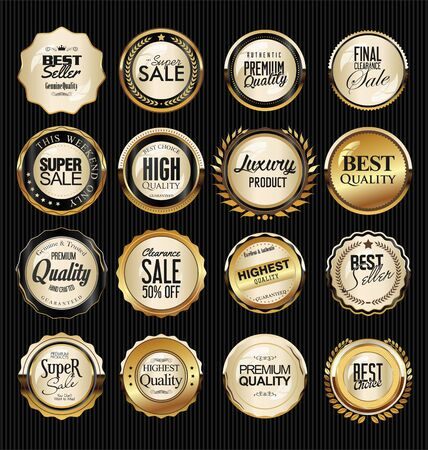 Golden badge and labels