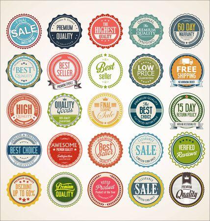 Distintivi ed etichette vintage retrò Vettoriali