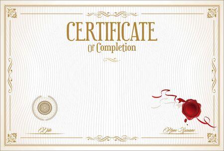certificate or diploma retro design Vektoros illusztráció