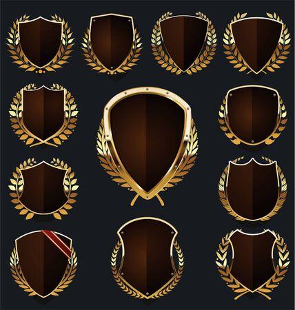 collection de boucliers dorés et bruns et couronne de laurier Vecteurs
