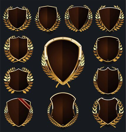 escudo dorado y marrón y colección de corona de laurel Ilustración de vector