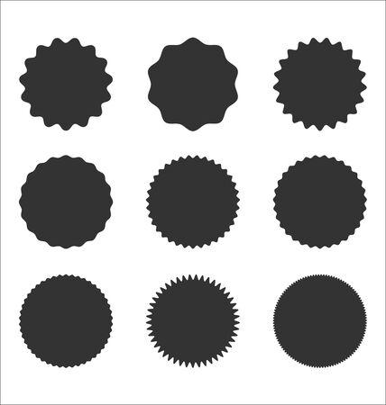 Collection of sunburst badges circle shapes vintage design Illustration