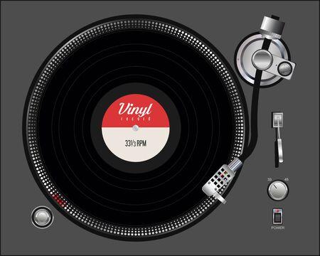black vinyl record disc flat concept Illustration