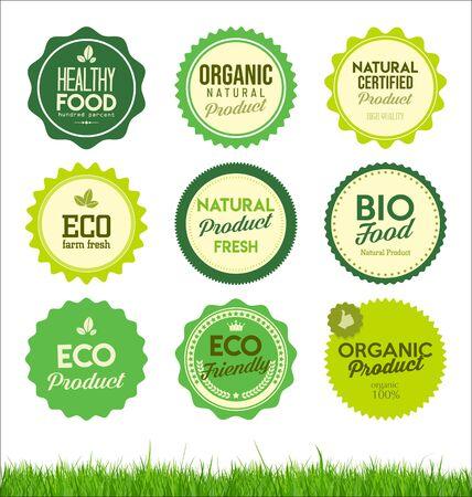 Establecer insignias de productos frescos de granja orgánica saludable Ilustración de vector
