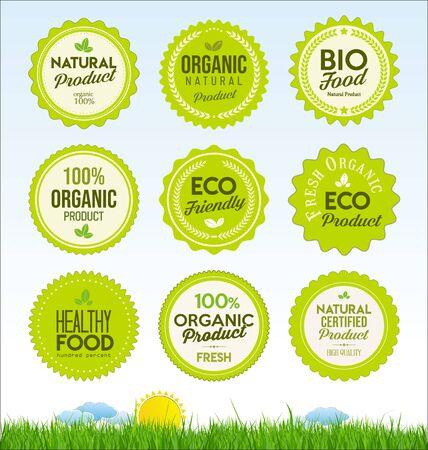 définir des badges de produits frais de ferme biologique saine
