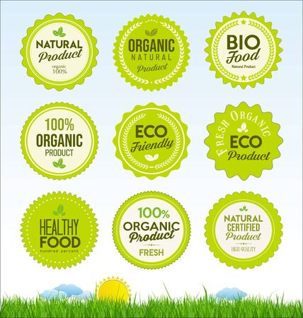 set healthy organic farm fresh product badges