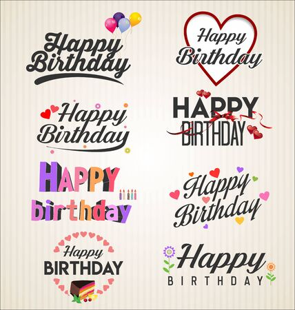 happy birthday typographic background Illusztráció